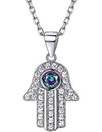 Argent sterling 925 Main de Fatima Collier Lucky protection Bijoux  spirituel Hamsa Fatima Main mauvais œil Collier… 09bd8ffc488d