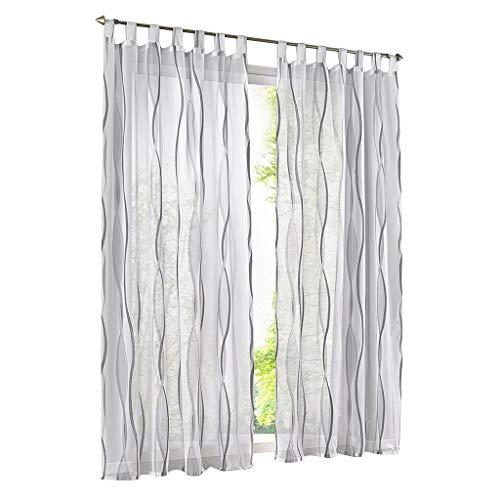 ESLIR Gardinen mit Schlaufen Vorhänge Gardinenschals Transparent Schlaufenschal Wellen Muster Voile Grau BxH 140x145cm 1 Stück