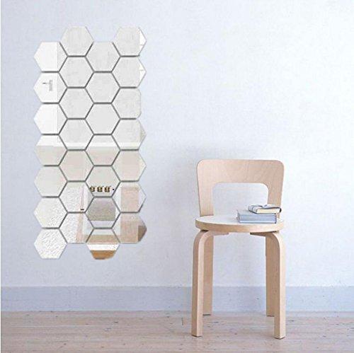 HUHU833 12Pcs 3D Spiegel Hexagon Vinyl entfernbare WandAufkleber Abziehbild Ausgangsdekor Kunst DIY Wohnzimmer Schlafzimmer Wandaufkleber Kunst Aufkleber (Silber)