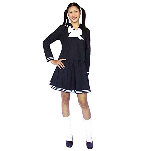 Japanisches Cosplay Schulmädchen Kostüm Schuluniform Baumwolle Schwarz (Sailor Kostüm Moon Amazon)