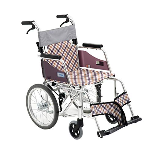 HEUFHU888 Sedia a rotelle - La Sedia a rotelle anziana Pieghevole Leggera di Alluminio della Lega Evita Il gonfiamento (Colore : Multicolore)