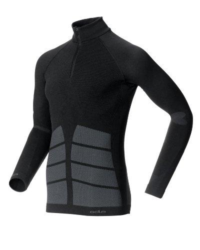Odlo - T-shirt calda da uomo Evolution Warm, senza cuciture, con zip nero