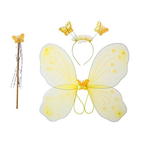 Kostüm Baguette - luoem Mädchen-Kostüm Fee Schmetterling Flügel Baguette Kostüm Fee Haarband 3teilig (gelb)