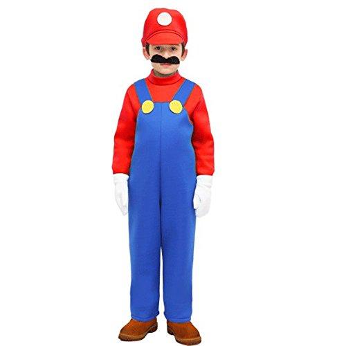 Vestito costume maschera di carnevale baby - mario bros - taglia 4/5 anni - 83 cm
