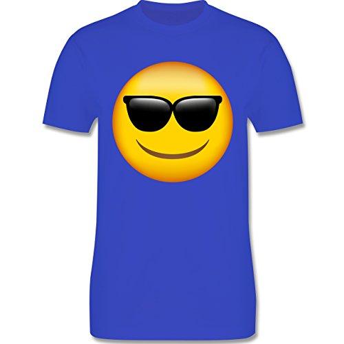 Comic Shirts - Emoji Sonnenbrille - Herren T-Shirt Rundhals Royalblau