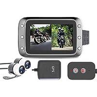 "leegoal Motorrad-Rekorder, 1080p Waterproof 3.0""LCD-Bildschirm 140 Degree Angle Night Vision Dual Lens Video Recorder Motorcycle Dash Cam mit GPS für Suzuki/Honda/Yamaha/KTM/Bombardier"