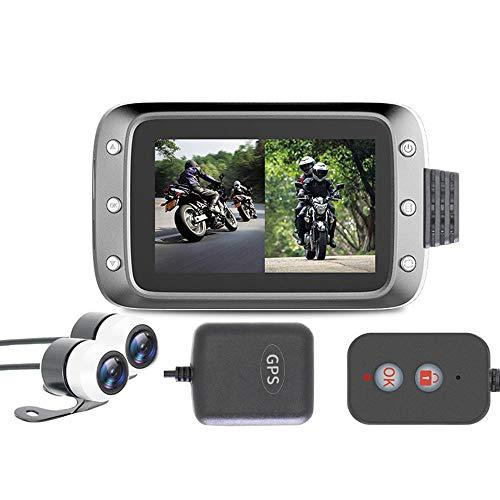 MOGOI Motorrad Armaturenbrett-Cam, 1080p, 3,0 Zoll LCD-Bildschirm, wasserdicht, 140 Grad Winkel, Dual-Objektiv-Videorekorder, Nachtsicht, Motorrad Recorder mit GPS für Outdoor-Fahren, Reisen