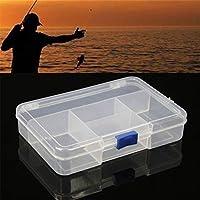 MZY1188 14.3 * 9.9 * 3.3cm Caja Menor de Almacenamiento de Cebo de Pesca, con 5 Compartimentos Caja de Almacenamiento de señuelos de Pesca de plástico Transparente Visible Caja de Almacenamiento
