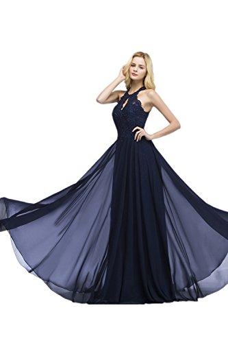 Misshow Damen Elegant Abendkleid Lang mit Strass Spitze Chiffon Ballkleid Hochzeitskleid, Navy, 36