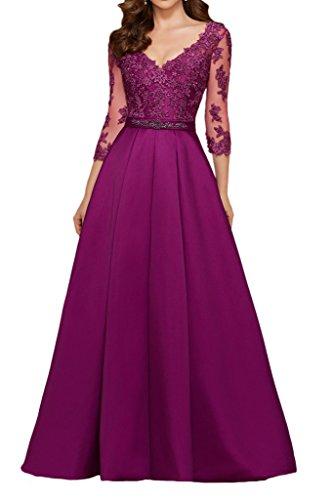 Promgirl House Damen Prinzessin Elfenbein Spitze V-Ausschnitt Abendkleider Ballkleider Lang mit Aermel