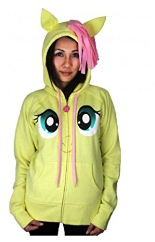 My Little Pony Fluttershy Pegasus Face Junior Butter gelb Kostüm Hoodie With Mane And Wings (Junior (Hoodie Gelber Kostüm)