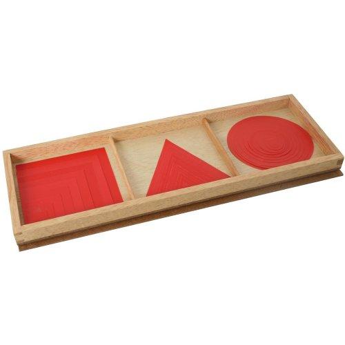 Lernspiel Lernmaterial für geometrische Formen nach Montessori in Rot Größe 33,5 x 12,5 x 2 cm Lernspielzeug aus Holz