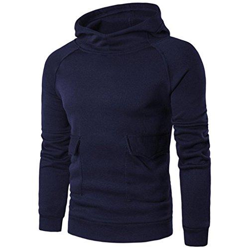 VENMO Herren Jungen Slim Fit Hoodie Lässige Jacke Modische Oberkleidung Outerwear Männer Langarm Taschen Tops Baumwolle Hooded Casual Shirt T-Shirts Hoodie (L, Navy)
