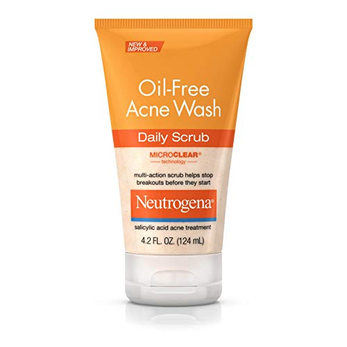 Neutrogena Gommage Oil Free Acne Wash à usage quotidien - Formule sans huile anti-acné à base d'acide salicylique - 124 ml