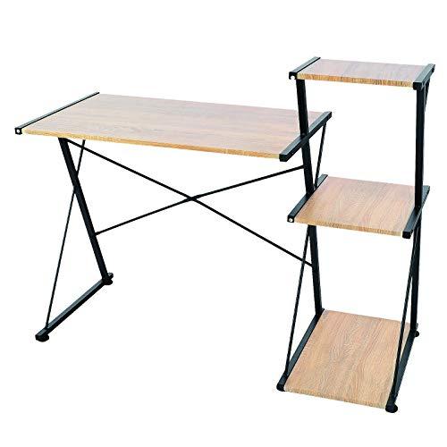 SITU SCD0045 Schreibtisch Computertisch PC Laptop Tisch Arbeitstisch mit 3 Ablagen Holz Metall Hell Eiche - 3 Regal Eiche Tisch