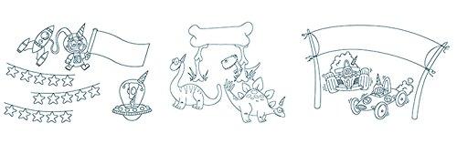 Securit Boy Geburtstag Thema Fenster Schablonen inkl. Kreide Marker, Weiß, A2, Set von 3