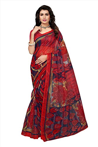 Fabwomen Women\'s Net Saree with Blouse Piece, Free Size (Red)