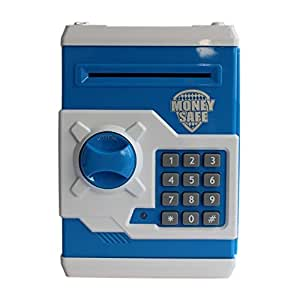 Toyshine Money Safe Kids Piggy Savings Bank with Electronic Lock (Blue)