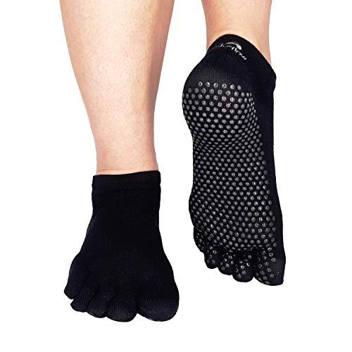 steady flow rutschfeste Yoga-Socken für Damen und Herren in Schwarz, Größe 39-42 - Praktische Zehensocken - Anti Rutsch Pilates Socken mit Noppen - Hochwertige ABS Zehensocken