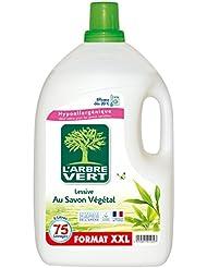 L'arbre vert Lessive Liquide au Savon Végétal Hypoallergénique 75 Lavages 5 L