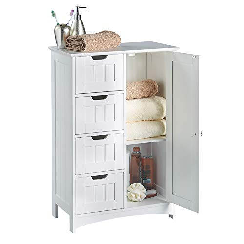 VonHaus 4 Drawer Storage Unit - White Colonial Style for the Bedroom or Bathroom Furniture Img 1 Zoom