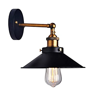 LemonBest® Vintage Industrial Umbrella Vintage Loft Wall Light Lamp Fixtures Retro Wall Sconce Edison Lamp E27 Diameter 21cm Black Metal (Not Include Bulb)
