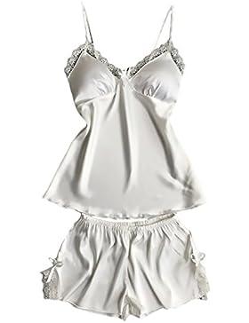 Pigiama Donna Estivo 2 Pezzi Eleganti Camicie Da Notte In Pizzo V-Collo Sleepwear Homewear Spalline Sottili Pad...