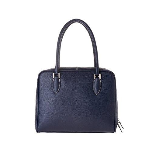 Sac porté épaule made in Italy doubles poignées et bandoulière DUDU Bleu