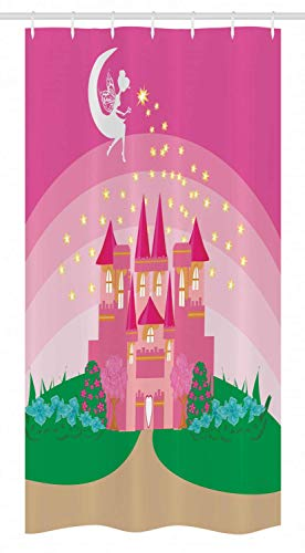 CHUNHUA Magic Stall Shower Curtain Magic Fantasy Feely Tale Princess Castle with Pixie in Sky Fictional Dream Kingdom Fabric Bathroom Decor Set with Hooks Zoll Green Pink