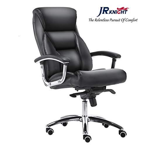 Jr knight poltrona pro, casa e ufficio, sedia a dondolo, in pelle sintetica premium ergonomico e lockin funzione, 360swirvel sedia da scrivania nero