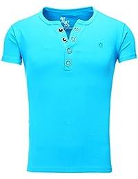 Young and Rich - T shirt homme col v T shirt 872 bleu turquoise - Bleu