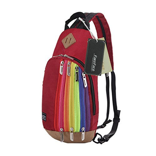 FakeFace Unisex Nylon Rucksack Brusttasche Brustbeutel Regenbogen Stil Kindertasche Schultertasche Umhängetasche Crossbody Bag Tasche für Wandern Reise Trekking Sport Skifahren (Dunkelrot)