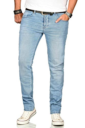 A. Salvarini Designer Herren Jeans Hose Basic Stretch Jeanshose Regular Slim [AS-172M1-Hellblau-W38 L32] -