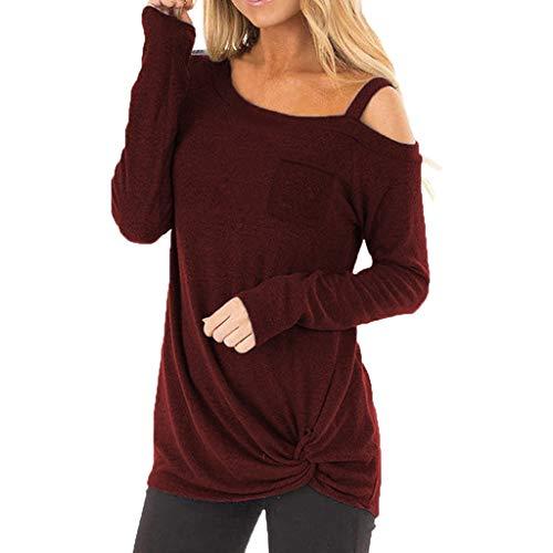 JYJM 2019 Frauen Casual Top Weiche Lange Ärmel O Neck Top Knot Side Bluse Elegant Langarm Casual Solid Unregelmäßiger Saum Sweatshirt Pullover Top Bluse mit Knopf Twist Top T-Shirt