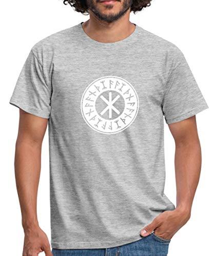 Spreadshirt Odins Schutz Symbol Männer T-Shirt, L, Grau meliert