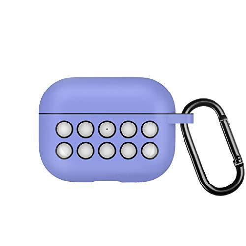 CAOQAO Protection du BoîTier De Chargement sans Fil, Housse De Protection en Silicone pour La Peau Compatible avec AirPods Pro, Couvercle du BoîTier De Chargement pour Casque Bluetooth(Violet)