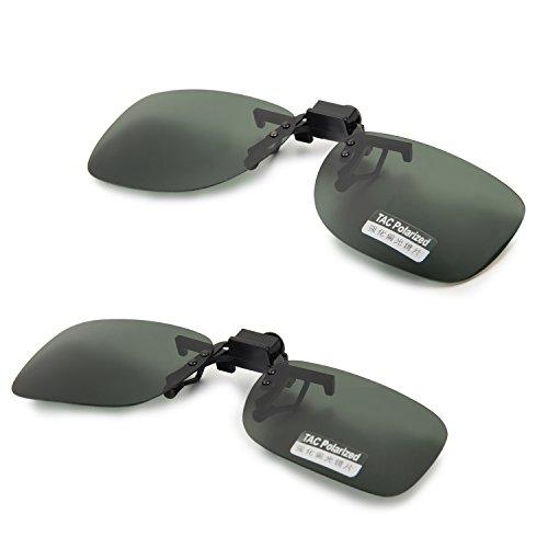Aroncent UV400 Sonnenbrillen Vorhänger Brille Aufsatz Clip On Polarisiert, 2 Größe, Grün