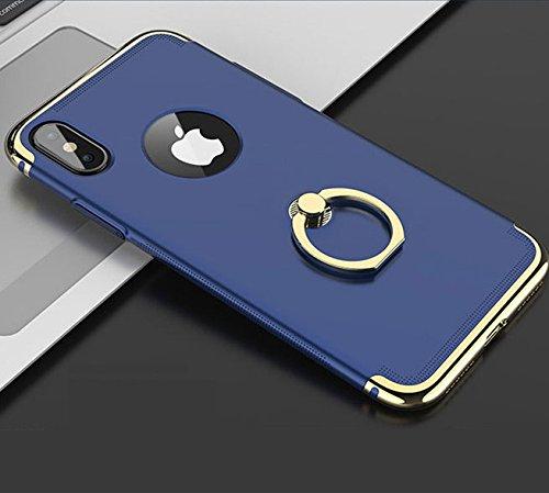 iPhone X Hülle, iPhone 10 Hülle mit Ringhalter Kickstand 360 Grad Verstellbarer Ring Griff Ständer Handyhülle für Apple iPhone X (5,8 Zoll) Blau CPC1197 Faceplate Ring