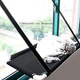 szlsl88 Hamaca para Mascotas Potente y de Malla para Instalar en casa, Percha para el hogar, para Colgar en la Ventana, Cama para Gato, Suministros de Ventosa, Color Negro