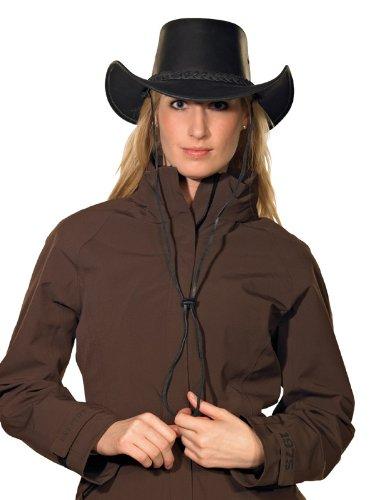 Pfiff 101004 Westernhut Utah, Rindleder, Cowboyhut, Hut Western Cowboy, Schwarz, XL (62 cm)