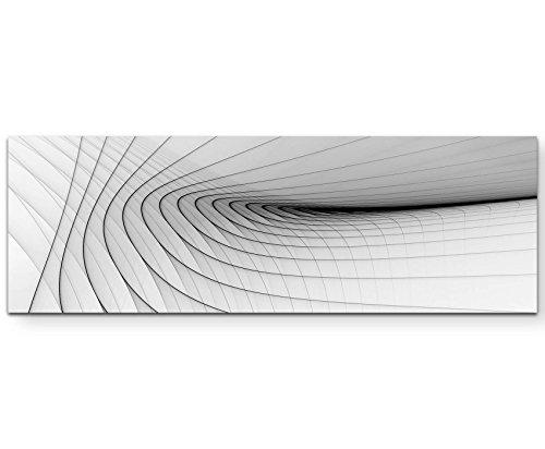 Paul Sinus Art Abstraktes Bild - Schwarze, Zarte Streifen, Weißer Hintergrund - Panoramabild auf Leinwand in 150x50cm (Bild Weißem Hintergrund)