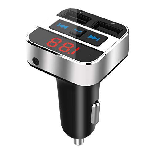 Bluetooth FM Transmitter, Uekars KFZ Auto Bluetooth Radio Transmitter Adapter BLuetooth Freisprecheinrichtung mit 2 USB Auto Ladegerät Häfen (5V/3.1A) für Schnelles Sicheres Laden,3,5 mm AUX Kabel - Usb-mp3-kabel