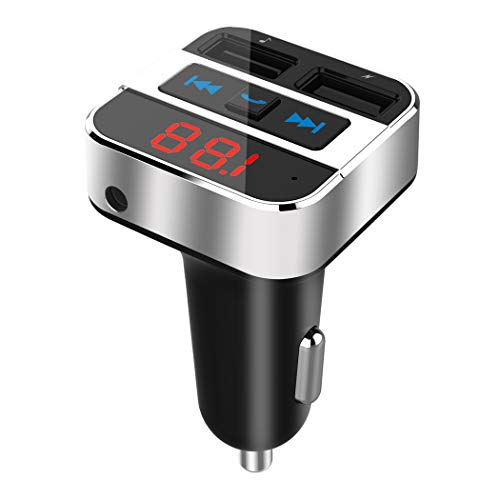 Uekars Trasmettitore FM Bluetooth,FM Trasmettitore Bluetooth Auto Radio Adattatori Vivavoce Car Kit con 2 Porte Caricatore USB 5V/3.1A, Musica Bluetooth, 3,5mm AUX in, Pennetta USB 64G