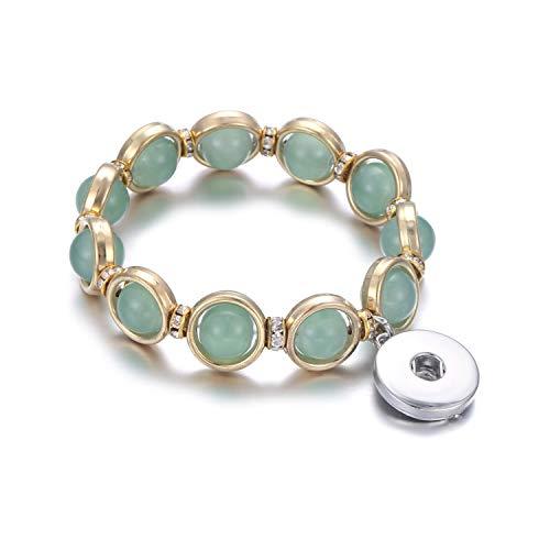 Irener Armband aus Glasperlen, New Beaded Snap Bracelet Natural Stone Beads 18Mm Snap Button Bracelet Bangle Elastic Beading Snaps Buttons Beads Making Jewelry 9 (Perlen-snap Button Armbänder)