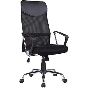 mecor Bürostuhl Schreibtischstuhl Bürodrehstuhl Ergonomischer Design Chefsessel mit Kopfstütze, Netzrücken/Wippfunktion/Feste Armlehne/Höhenverstellbar in schwarz