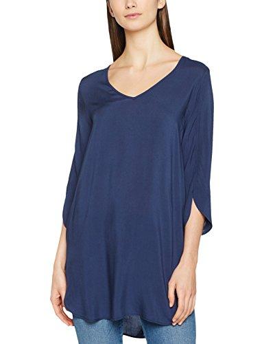 VERO MODA Damen Bluse Vmboca 3/4 Tunic Noos, Blau (Black Iris), 38 (Herstellergröße: M)