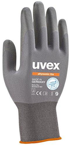 3 Paar uvex phynomic lite Arbeitshandschuhe EN388 | Schutzhandschuhe mit Grip für trocken und leicht feuchte Arbeiten | Ultra leichte Handschuhe gegen mechanische Risiken | dermatologisch getestet