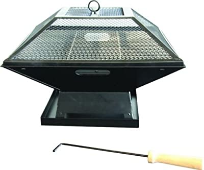 Garden Mile Black Square Metal Outdoor Garden Fire Pit Bbq Grill Patio Fire Pit Heater Firepit Square Brazier Garden Fire Pit With Poker Uksquare Bbqfire Pit from Garden Mile®