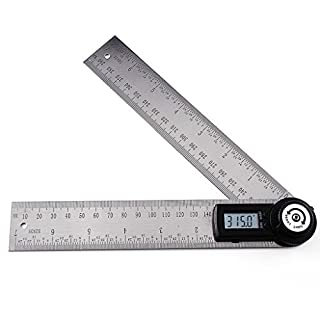 Digital Angle Measurement Finder Stainless Steel Tool for wood Level Gauge 360 degree Meter Protractor with Moving Blade Ruler carpentry ,Woodworking ,Construction and Drawing ,Repairing (14 inches Length)