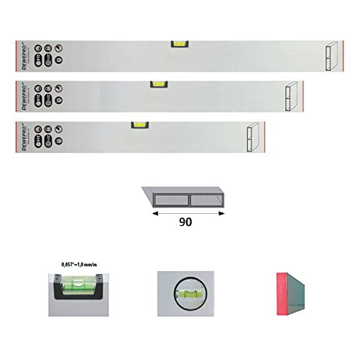 3er Set DEWEPRO® Estrich Richtlatte - Setzlatte - Abziehlatte - Putzlatte mit 1 Libelle - Längen: 100cm (1,0m) + 150cm (1,5m) + 200cm (2,0m)